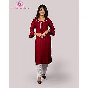 Bisesh Creation Maroon Motiwork Kurti for Women