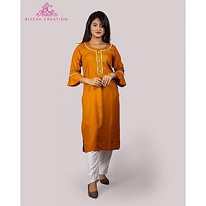 Bisesh Creation Mustard Yellow Motiwork Kurti for Women