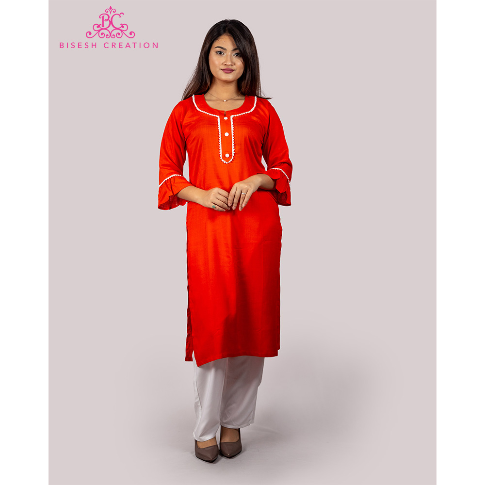 Bisesh Creation Orange Motiwork Kurti for Women