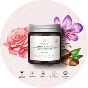 Juicy Chemistry Face Scrub for Skin Brightening and Rejuvenating with Saffron, Rose and Australian Sandalwood – 75 gm