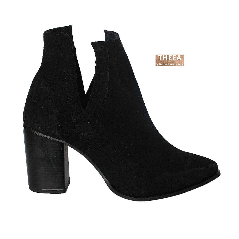 Theea V Cut Black Suede Women Boots