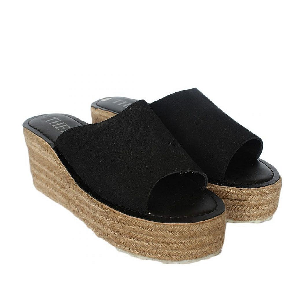 Theea Wedge Heel Black Sandal for Women