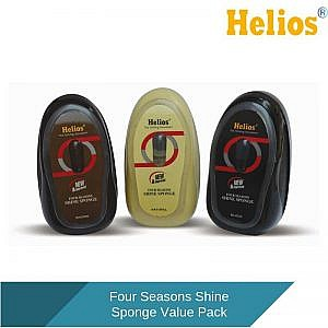 Helios Four Seasons Shoe Shine Sponge Value Pack Natural, Black & Brown