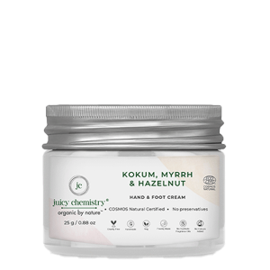 Juicy Chemistry Hand and Foot Cream with Kokum, Myrrh, and Hazelnut – 25 gm