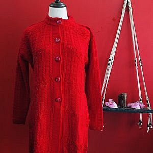 Woolen Button Cardigan for Women