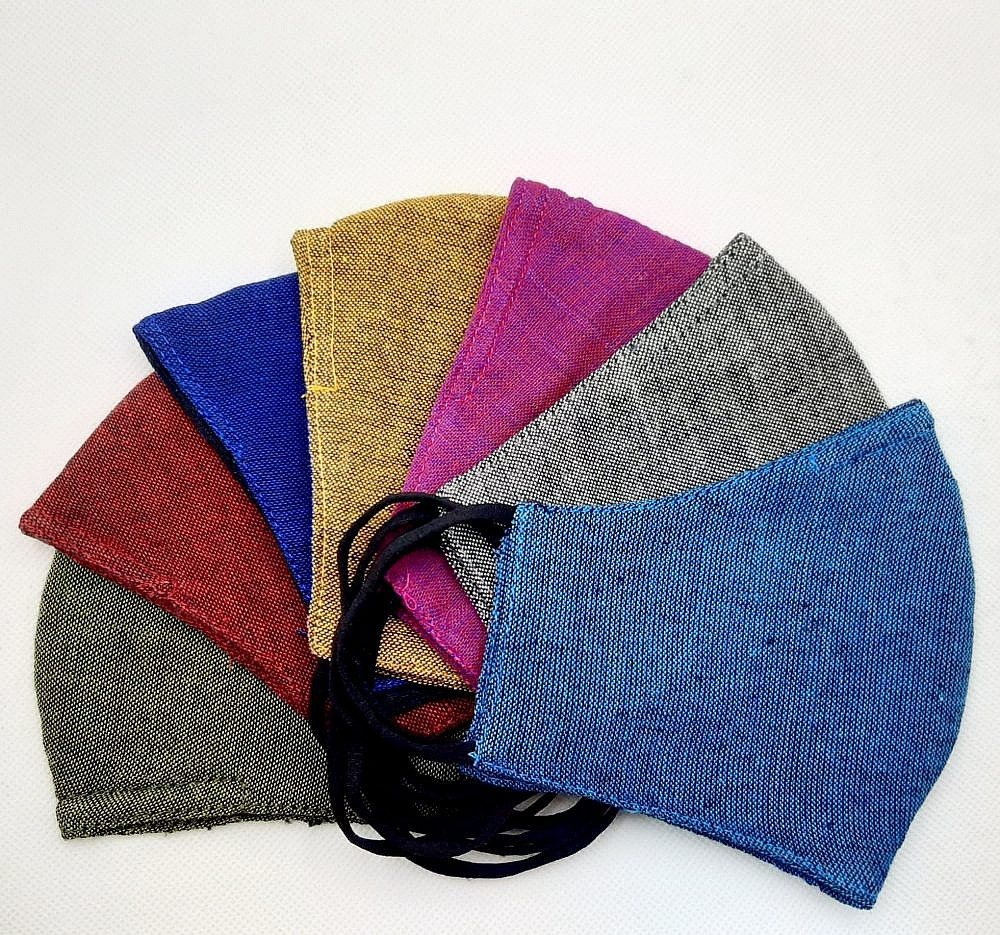 Pack Of 7 Plain Hemp Cotton Three Layer Washable Mask With Nosepin