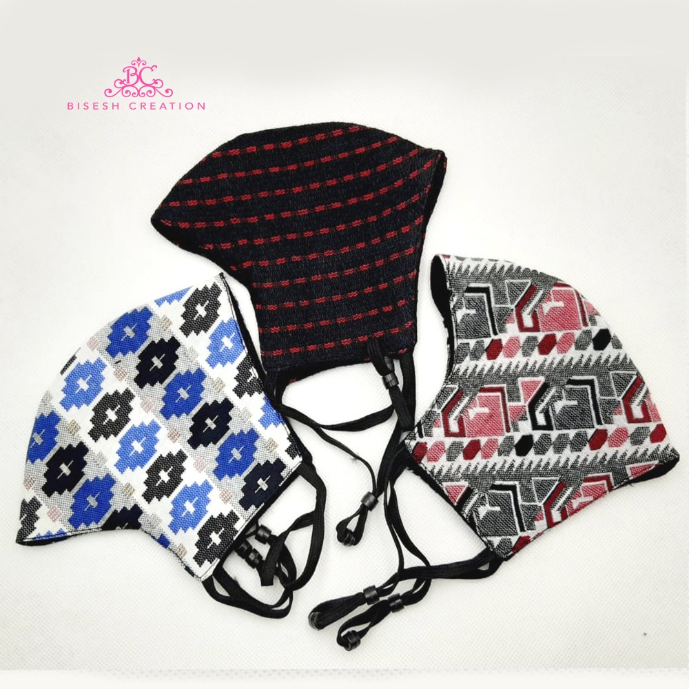 Pack Of 3 Printed Dhaka Cotton Three Layer Washable Mask