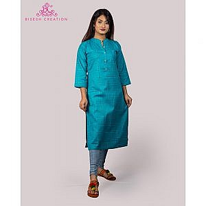 Bisesh Creation Sky Blue Checkered Print Cotton Linen Kurti for Women