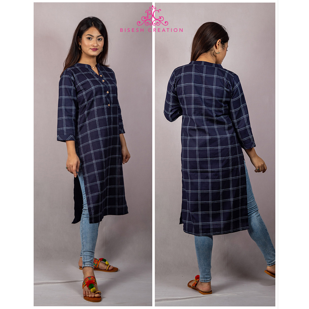 Bisesh Creation Navy Blue Checkered Print Cotton Linen Kurti for Women