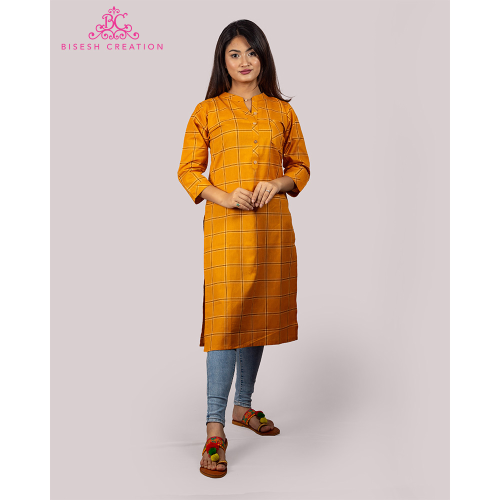 Bisesh Creation Yellow Checkered Print Cotton Linen Kurti for Women