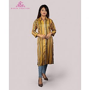 Bisesh Creation Yellow/Black Lining Flaux Slub Rayon Kurti for Women