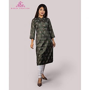 Bisesh Creation Grey Dhaka Print Flex Rayon Kurti for Women