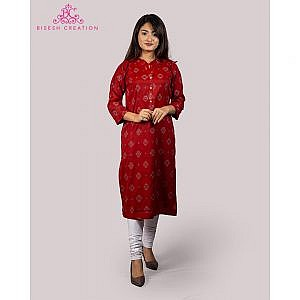Bisesh Creation Red Dhaka Print Flex Rayon Kurti for Women