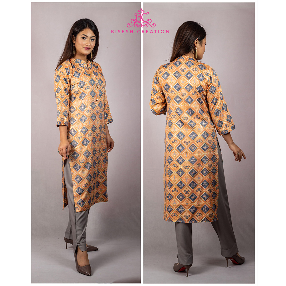 Bisesh Creation Orange Shirt Design Ikat Slub Rayon Kurti for Women