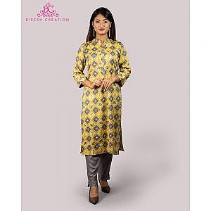 Bisesh Creation Yellow Shirt Design Ikat Slub Rayon Kurti for Women
