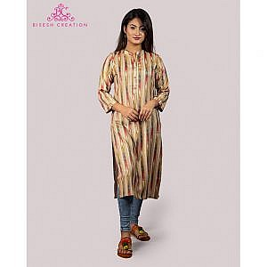 Bisesh Creation Grey Foil Print Ikat Slub Rayon Kurti for Women