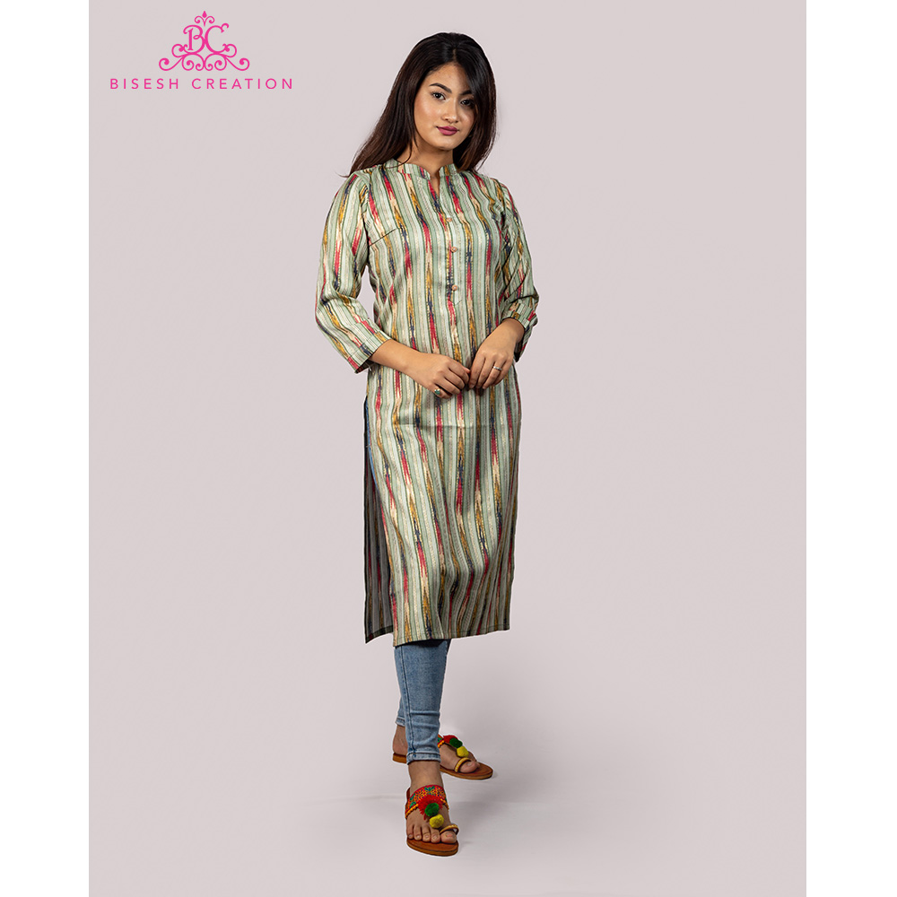 Bisesh Creation Green Foil Print Ikat Slub Rayon Kurti for Women