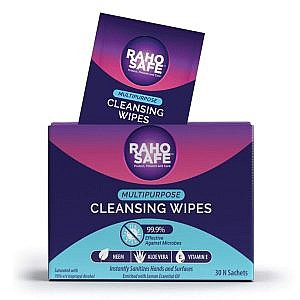 Raho Safe Multi Purpose Cleansing Wipes – Pack of 30  Sachets