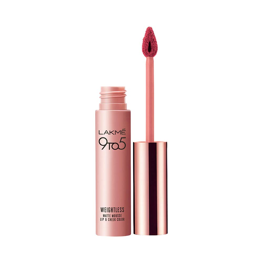 There might be minor color variation between actual product and image shown on screen due to lighting on the photography Say 'No' to touch ups with this perfect for office wear, Lakmé 9 to 5 Weightless Mousse Matte Lip and Cheek Color. Lakmé's first lip and cheek color comes in a mousse texture that's weightless, giving a powdery matte finish to lips and a soft blush to your cheeks. Lakmé 9 to 5 Weightless Mousse Matte Lip and Cheer Color is ideal for daily office wear adding charm and lasting long. Its dual benefit makes it a high functional product for the busy and on the go working woman. Its Looks and feels weightless because of the light weight formula. Since it's a mousee texture, it absorbs well giving an intense color that long-lasting. The applicator brish glides on seamlessly making is east to apply and giving a smooth and even finish. There are 10 vibrant shades designed especially for both lips and cheeks. Buy Now! How to Apply: Swipe on the product – with the foam tip applicator evenly over your lips. Apply a second coat of the weightless mousse, to deepen the shade and give your lips a powdery, matte look. To add a soft blush to your cheeks, dot the mousse under your cheekbones in a half moon shape and use your fingertips to blend. Duration: 5-8 hrs