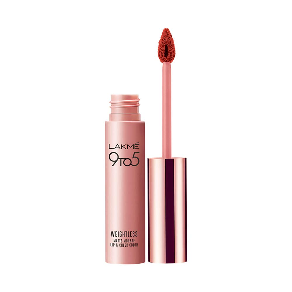 Lakme 9 to 5 Weightless Mousse Lip & Cheek Color, Rogue Satin|9 g